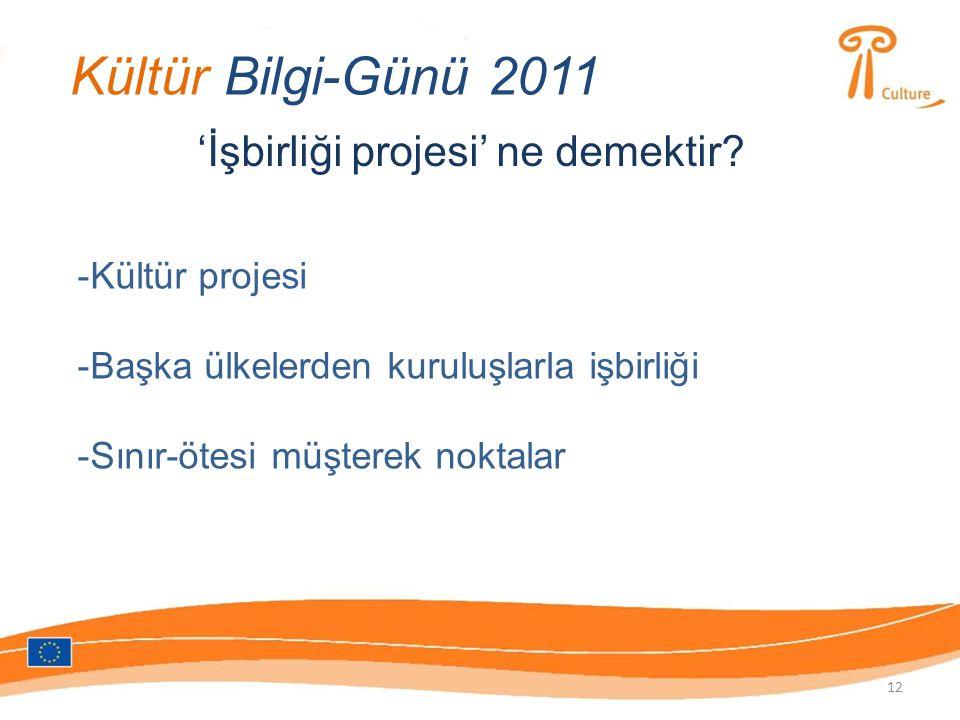 Kültür Bilgi-Günü 2011 'İşbirliği projesi' ne demektir.