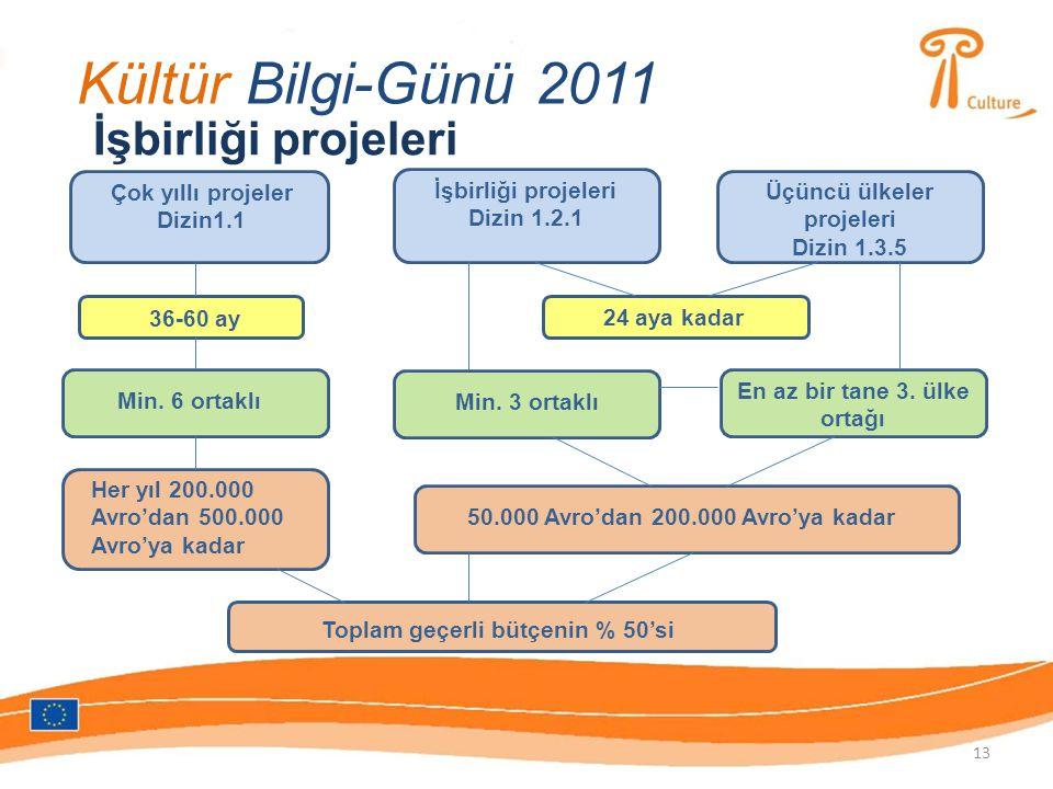 Kültür Bilgi-Günü 2011 İşbirliği projeleri Çok yıllı projeler Dizin1.1 36-60 ay Min.