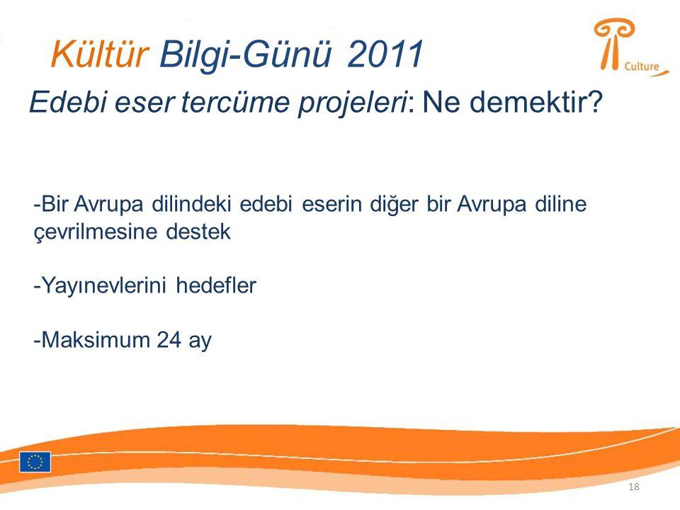 Kültür Bilgi-Günü 2011 Edebi eser tercüme projeleri: Ne demektir.