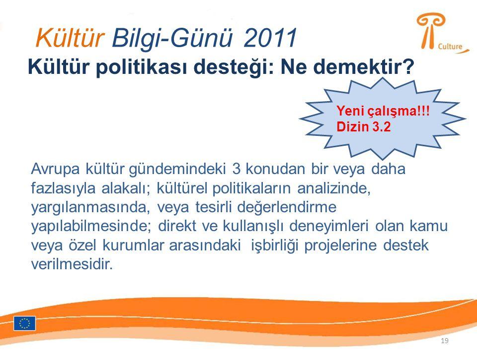 Kültür Bilgi-Günü 2011 Kültür politikası desteği: Ne demektir.