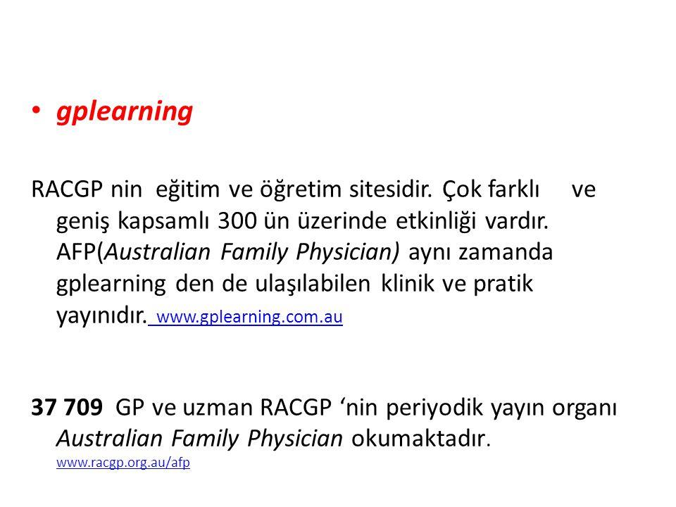 • gplearning RACGP nin eğitim ve öğretim sitesidir. Çok farklı ve geniş kapsamlı 300 ün üzerinde etkinliği vardır. AFP(Australian Family Physician) ay