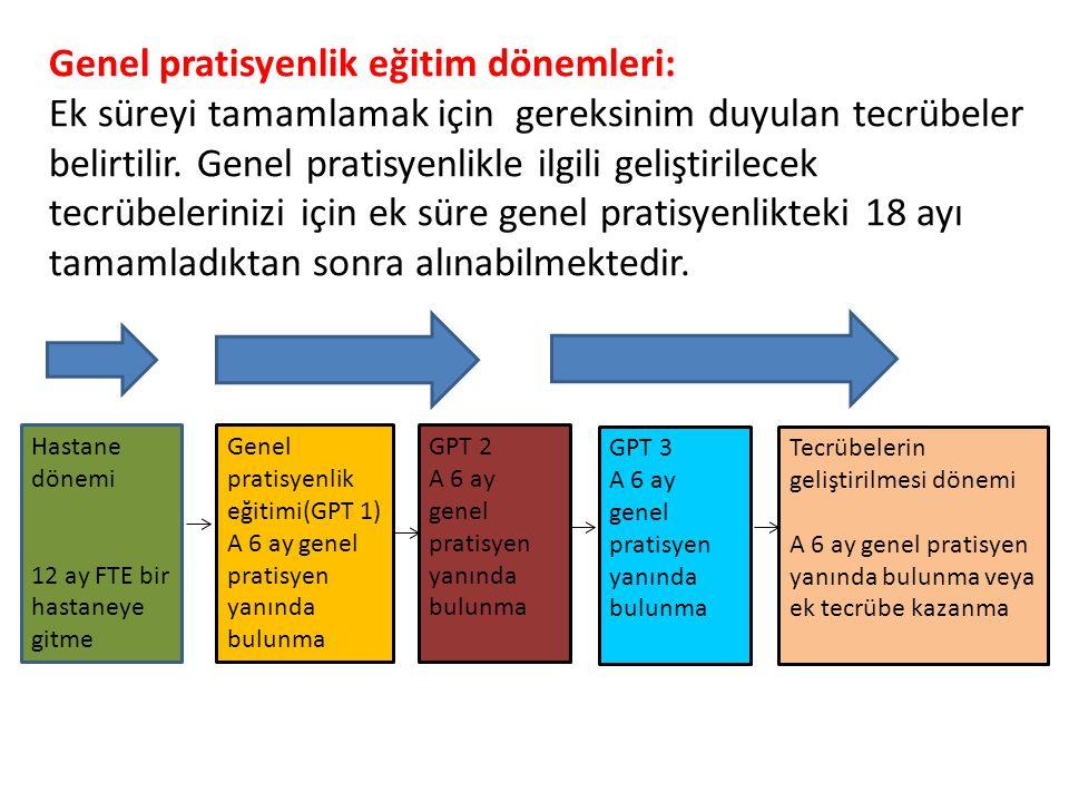 Hastane dönemi 12 ay FTE bir hastaneye gitme Genel pratisyenlik eğitimi(GPT 1) A 6 ay genel pratisyen yanında bulunma GPT 2 A 6 ay genel pratisyen yan