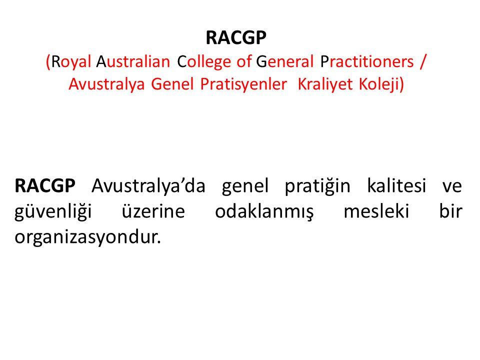 RACGP (Royal Australian College of General Practitioners / Avustralya Genel Pratisyenler Kraliyet Koleji) RACGP Avustralya'da genel pratiğin kalitesi