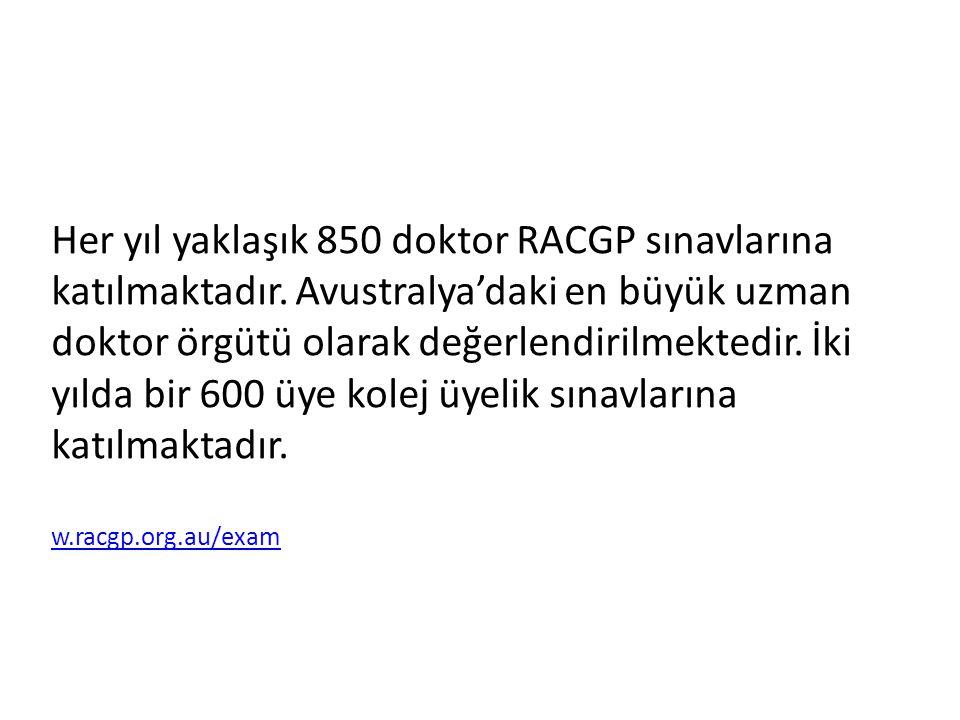 Her yıl yaklaşık 850 doktor RACGP sınavlarına katılmaktadır. Avustralya'daki en büyük uzman doktor örgütü olarak değerlendirilmektedir. İki yılda bir
