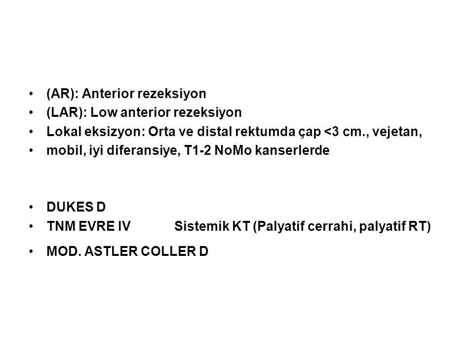 •(AR): Anterior rezeksiyon •(LAR): Low anterior rezeksiyon •Lokal eksizyon: Orta ve distal rektumda çap <3 cm., vejetan, •mobil, iyi diferansiye, T1-2