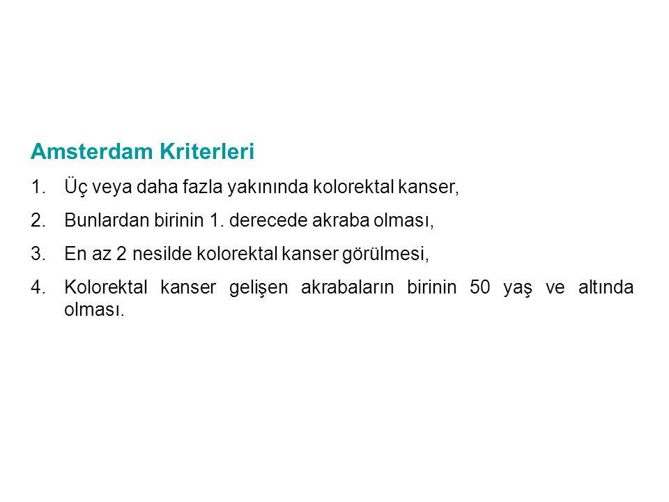 Amsterdam Kriterleri 1.Üç veya daha fazla yakınında kolorektal kanser, 2.Bunlardan birinin 1. derecede akraba olması, 3.En az 2 nesilde kolorektal kan