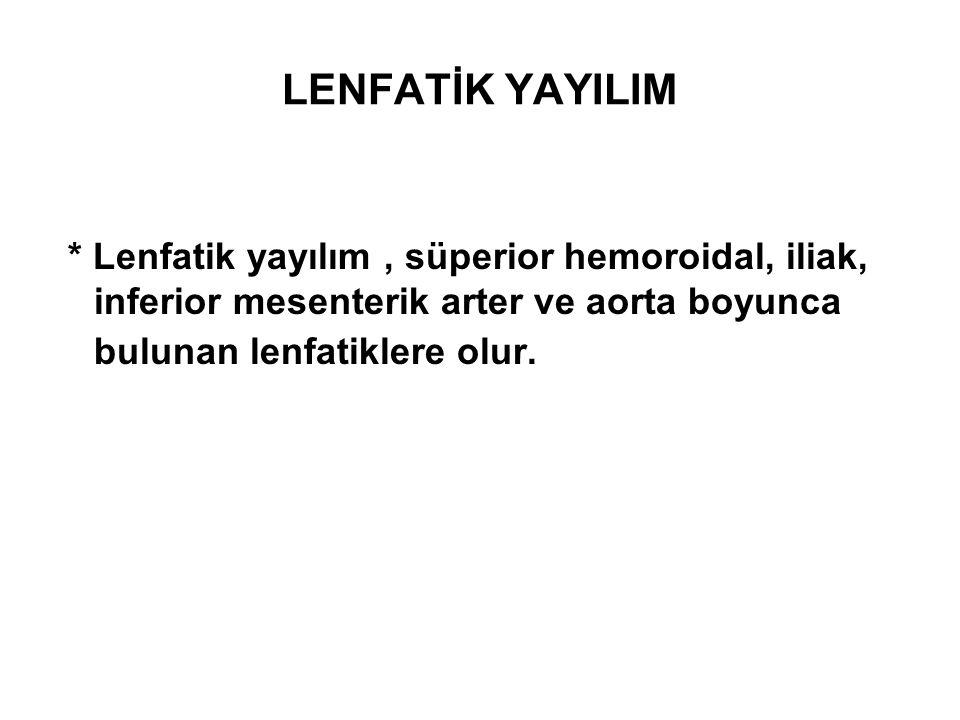 LENFATİK YAYILIM * Lenfatik yayılım, süperior hemoroidal, iliak, inferior mesenterik arter ve aorta boyunca bulunan lenfatiklere olur.