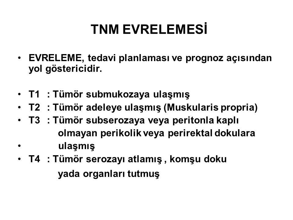 TNM EVRELEMESİ •EVRELEME, tedavi planlaması ve prognoz açısından yol göstericidir. •T1: Tümör submukozaya ulaşmış •T2: Tümör adeleye ulaşmış (Muskular