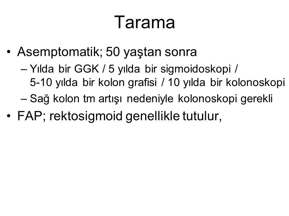 Tarama •Asemptomatik; 50 yaştan sonra –Yılda bir GGK / 5 yılda bir sigmoidoskopi / 5-10 yılda bir kolon grafisi / 10 yılda bir kolonoskopi –Sağ kolon
