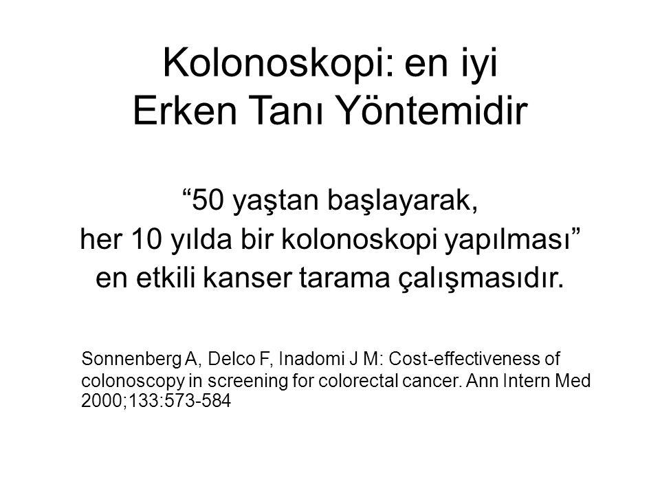 """Kolonoskopi: en iyi Erken Tanı Yöntemidir """"50 yaştan başlayarak, her 10 yılda bir kolonoskopi yapılması"""" en etkili kanser tarama çalışmasıdır. Sonnenb"""