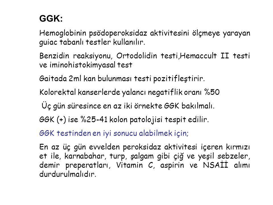 GGK: Hemoglobinin psödoperoksidaz aktivitesini ölçmeye yarayan guiac tabanlı testler kullanılır. Benzidin reaksiyonu, Ortodolidin testi,Hemaccult II t
