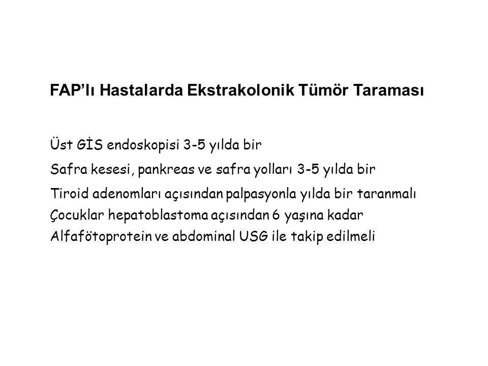 FAP'lı Hastalarda Ekstrakolonik Tümör Taraması Üst GİS endoskopisi 3-5 yılda bir Safra kesesi, pankreas ve safra yolları 3-5 yılda bir Tiroid adenomla