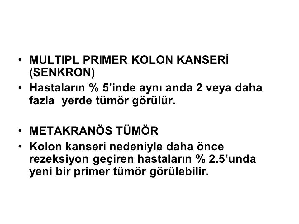 •MULTIPL PRIMER KOLON KANSERİ (SENKRON) •Hastaların % 5'inde aynı anda 2 veya daha fazla yerde tümör görülür. •METAKRANÖS TÜMÖR •Kolon kanseri nedeniy