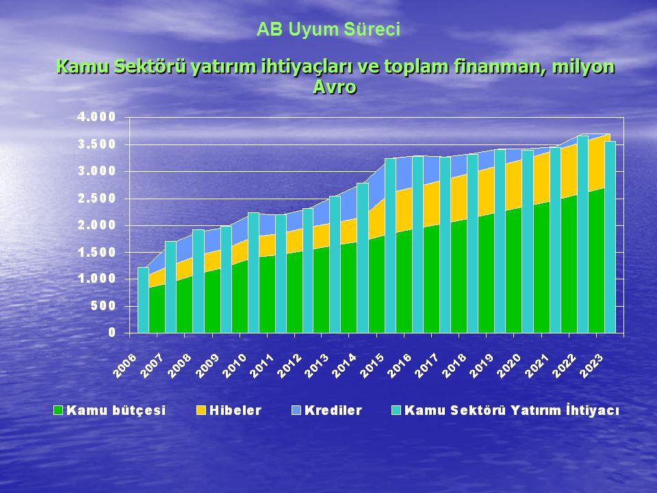AB Uyum Süreci Kamu Sektörü yatırım ihtiyaçları ve toplam finanman, milyon Avro