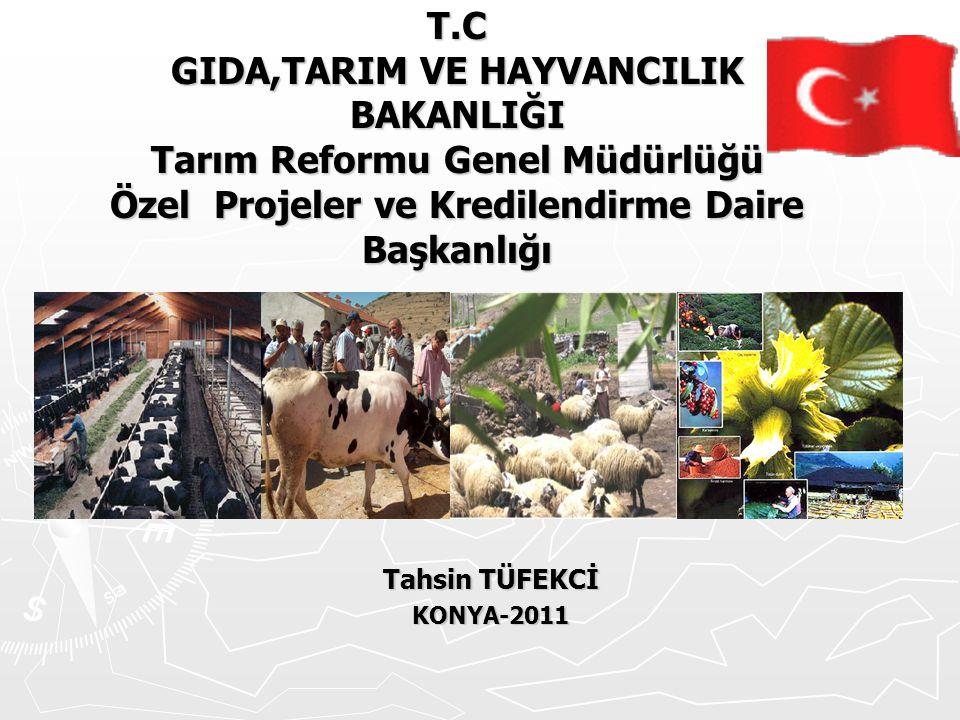 T.C GIDA,TARIM VE HAYVANCILIK BAKANLIĞI Tarım Reformu Genel Müdürlüğü Özel Projeler ve Kredilendirme Daire Başkanlığı Tahsin TÜFEKCİ KONYA-2011