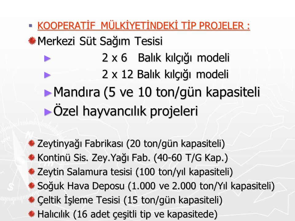  KOOPERATİF MÜLKİYETİNDEKİ TİP PROJELER : Merkezi Süt Sağım Tesisi ► 2 x 6 Balık kılçığı modeli ► 2 x 12 Balık kılçığı modeli ► Mandıra (5 ve 10 ton/