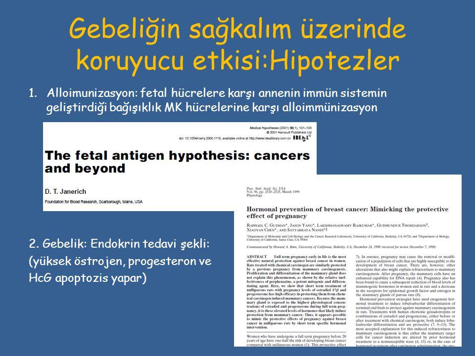 Gebeliğin sağkalım üzerinde koruyucu etkisi:Hipotezler 1.Alloimunizasyon: fetal hücrelere karşı annenin immün sistemin geliştirdiği bağışıklık MK hücr