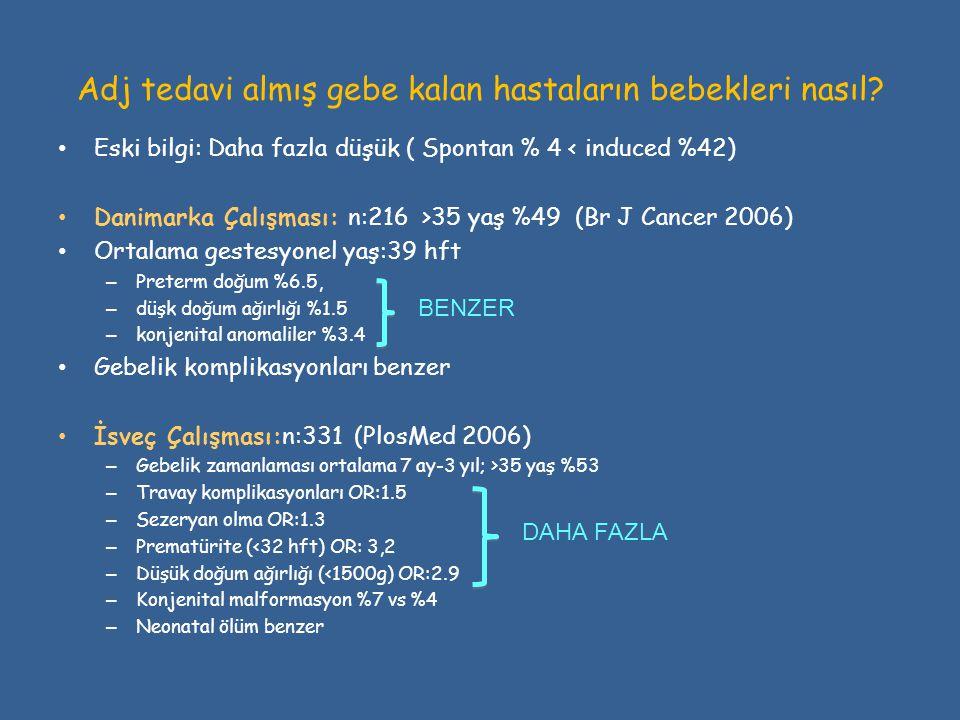 Adj tedavi almış gebe kalan hastaların bebekleri nasıl? • Eski bilgi: Daha fazla düşük ( Spontan % 4 < induced %42) • Danimarka Çalışması: n:216 >35 y