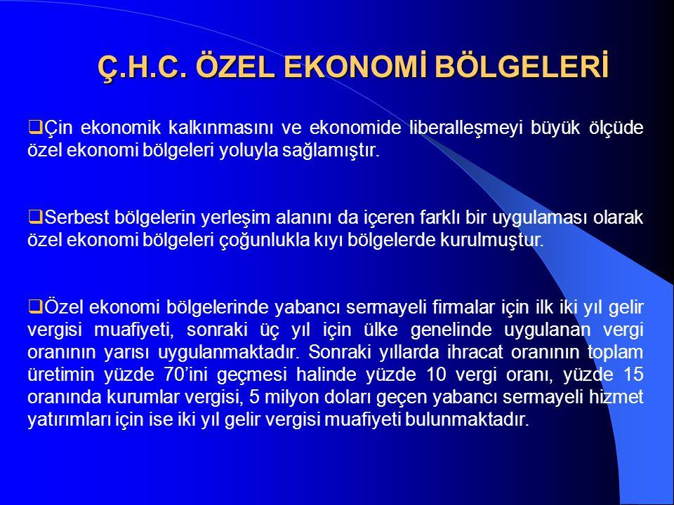 Ç.H.C. ÖZEL EKONOMİ BÖLGELERİ  Çin ekonomik kalkınmasını ve ekonomide liberalleşmeyi büyük ölçüde özel ekonomi bölgeleri yoluyla sağlamıştır.  Serbe