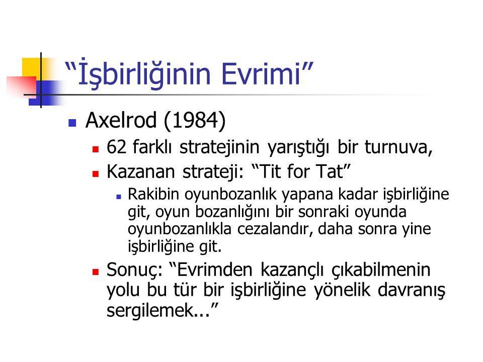 """""""İşbirliğinin Evrimi""""  Axelrod (1984)  62 farklı stratejinin yarıştığı bir turnuva,  Kazanan strateji: """"Tit for Tat""""  Rakibin oyunbozanlık yapana"""