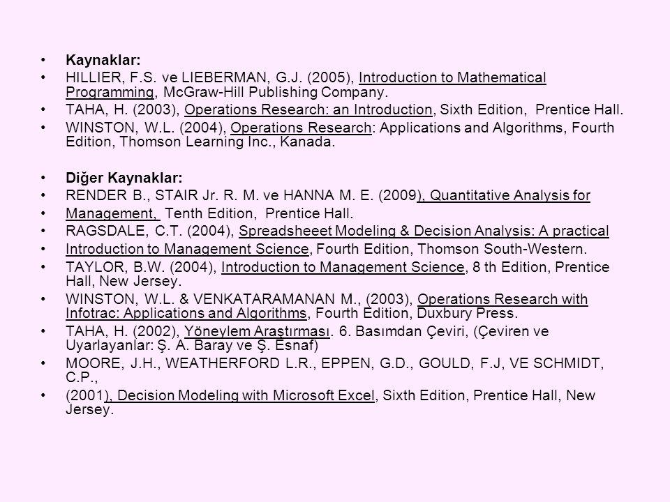 •Kaynaklar: •HILLIER, F.S. ve LIEBERMAN, G.J. (2005), Introduction to Mathematical Programming, McGraw-Hill Publishing Company. •TAHA, H. (2003), Oper