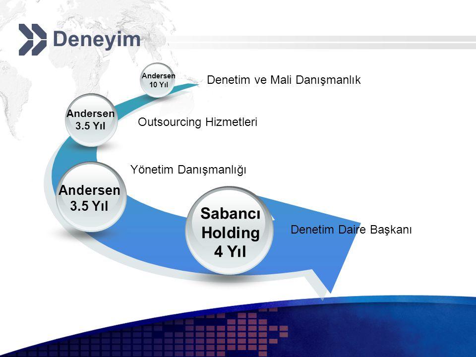 Deneyim Outsourcing Hizmetleri Andersen 3.5 Yıl Denetim Daire Başkanı Sabancı Holding 4 Yıl Denetim ve Mali Danışmanlık Andersen 10 Yıl Yönetim Danışmanlığı Andersen 3.5 Yıl