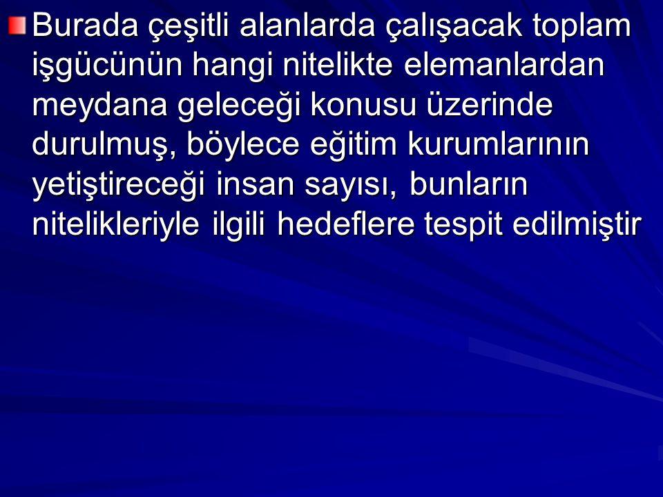 Kalkınma Plânında, bu çerçeve içinde ele alınan eğitim politikasının uygulanmasında göz önünde tutulacak başlıca ilkeler şunlardır : (1) Eğitim sistemimiz toplumdaki çeşitli görevlerin yurttaşlar arasında kabiliyetlerine göre dağıtılmasını sağlayacak bir şekilde düzenlenecektir (2) Eğitim sistemimiz, Türk toplumunun ihtiyaçlarına ve şartlarına uygun insanların yetiştirilmesine doğru yönelecektir