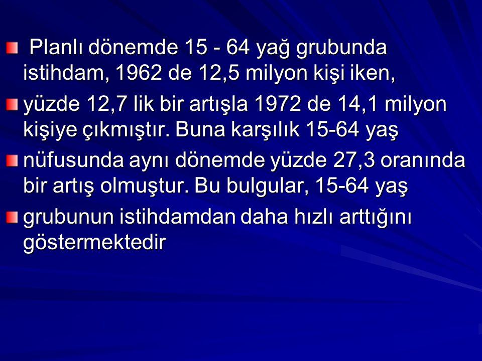 Planlı dönemde 15 - 64 yağ grubunda istihdam, 1962 de 12,5 milyon kişi iken, Planlı dönemde 15 - 64 yağ grubunda istihdam, 1962 de 12,5 milyon kişi ik