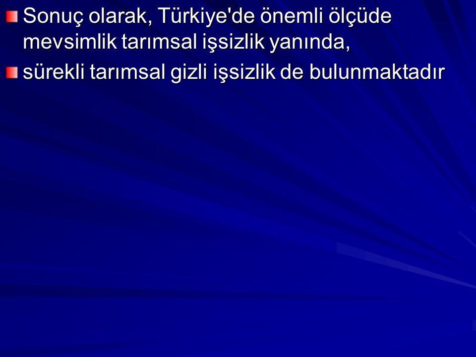 Sonuç olarak, Türkiye'de önemli ölçüde mevsimlik tarımsal işsizlik yanında, sürekli tarımsal gizli işsizlik de bulunmaktadır