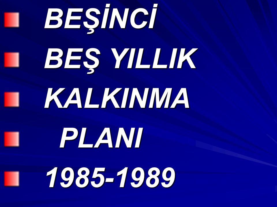 BEŞİNCİ BEŞİNCİ BEŞ YILLIK BEŞ YILLIK KALKINMA KALKINMA PLANI PLANI 1985-1989 1985-1989