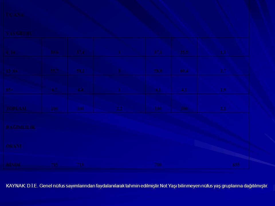 ÜÇ ANA YAŞ GRUBU 0_1439,637,4137,135,51,3 15_6455,758,2358,860,42,7 65+4,74,414,1 1,9 TOPLAM100 2,2100 2,1 BAĞIMLILIK ORANI BİNDE795719 700 655 KAYNAK
