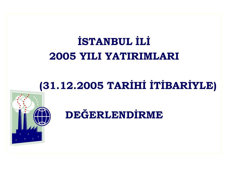 İSTANBUL İLİ 2005 YILI YATIRIMLARI (31.12.2005 TARİHİ İTİBARİYLE) DEĞERLENDİRME