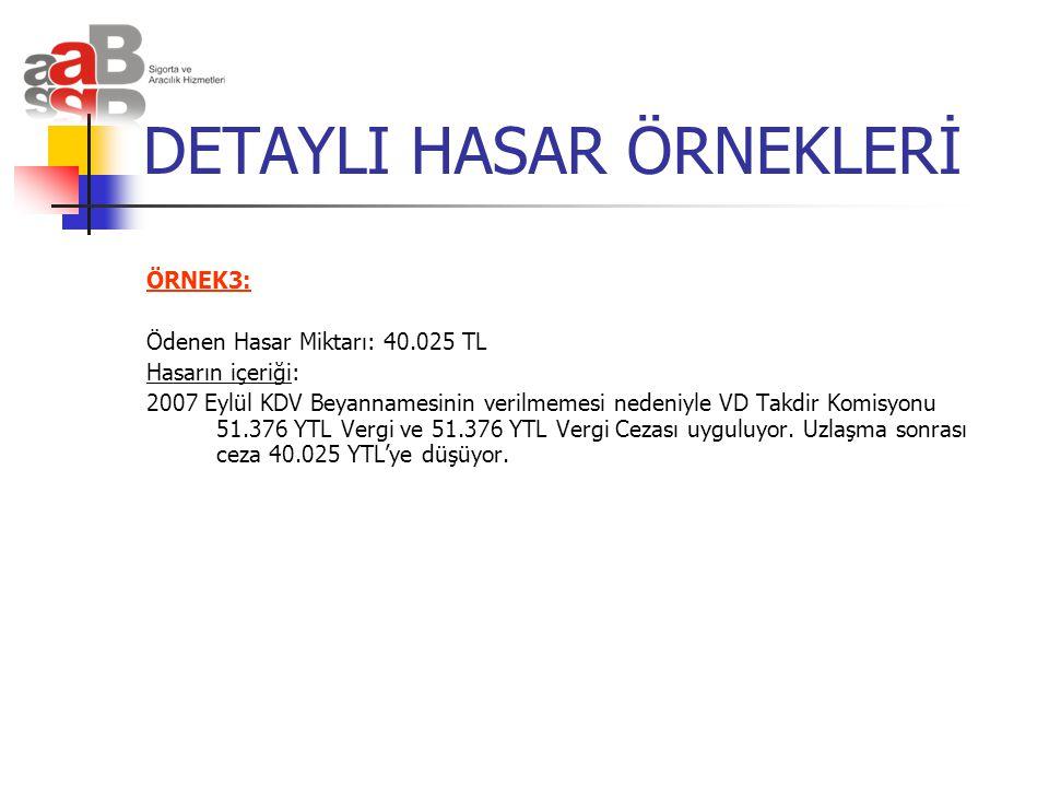 DETAYLI HASAR ÖRNEKLERİ ÖRNEK3: Ödenen Hasar Miktarı: 40.025 TL Hasarın içeriği: 2007 Eylül KDV Beyannamesinin verilmemesi nedeniyle VD Takdir Komisyo