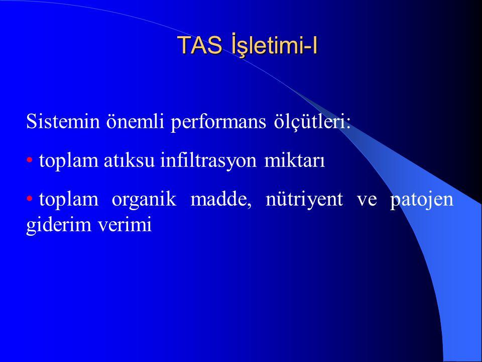 TAS İşletimi-I Sistemin önemli performans ölçütleri: • toplam atıksu infiltrasyon miktarı • toplam organik madde, nütriyent ve patojen giderim verimi