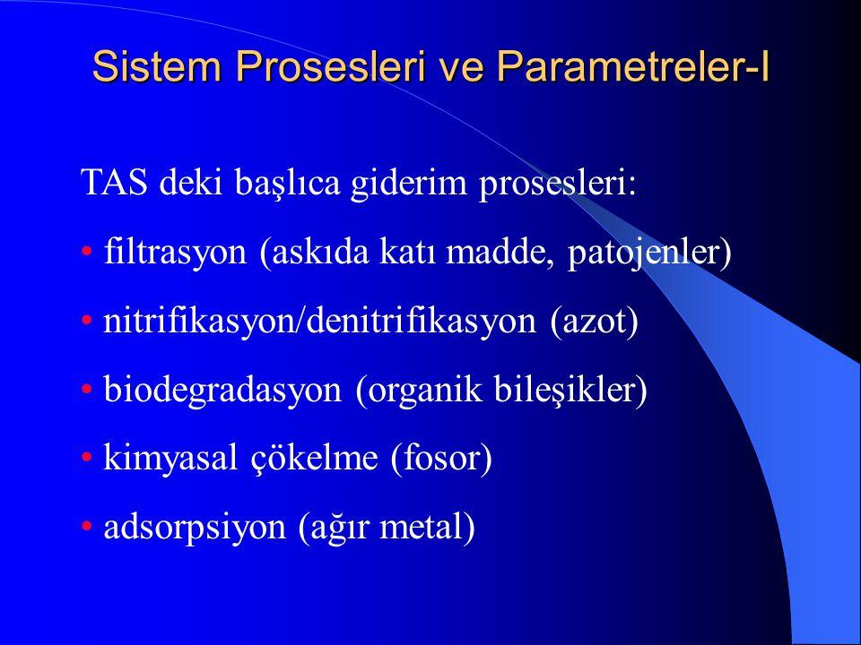 Sistem Prosesleri ve Parametreler-I TAS deki başlıca giderim prosesleri: • filtrasyon (askıda katı madde, patojenler) • nitrifikasyon/denitrifikasyon