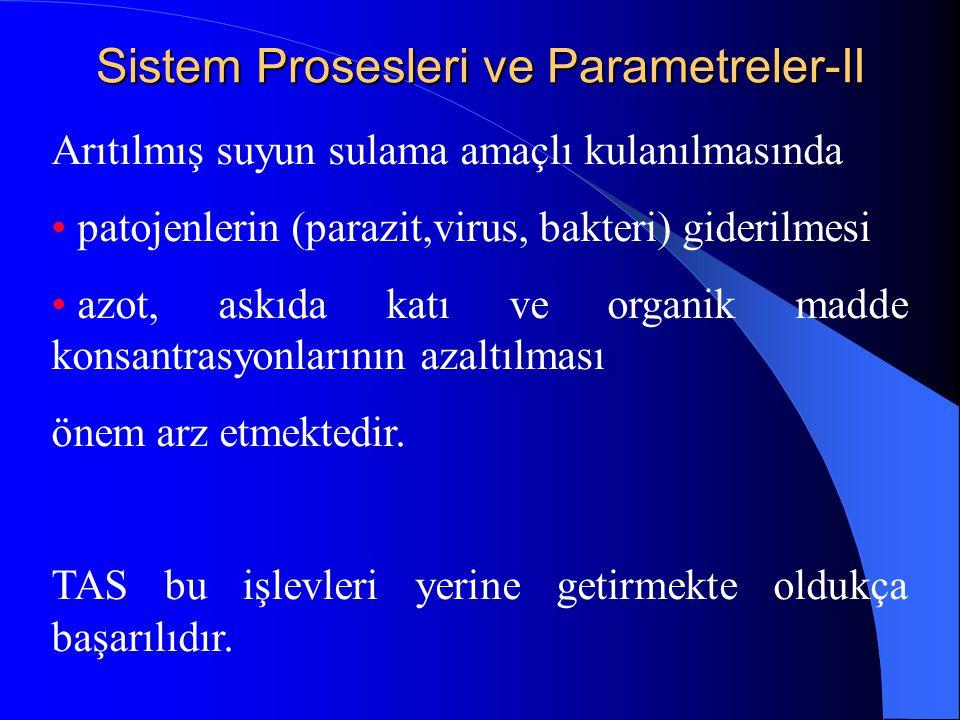 Sistem Prosesleri ve Parametreler-II Arıtılmış suyun sulama amaçlı kulanılmasında • patojenlerin (parazit,virus, bakteri) giderilmesi • azot, askıda k