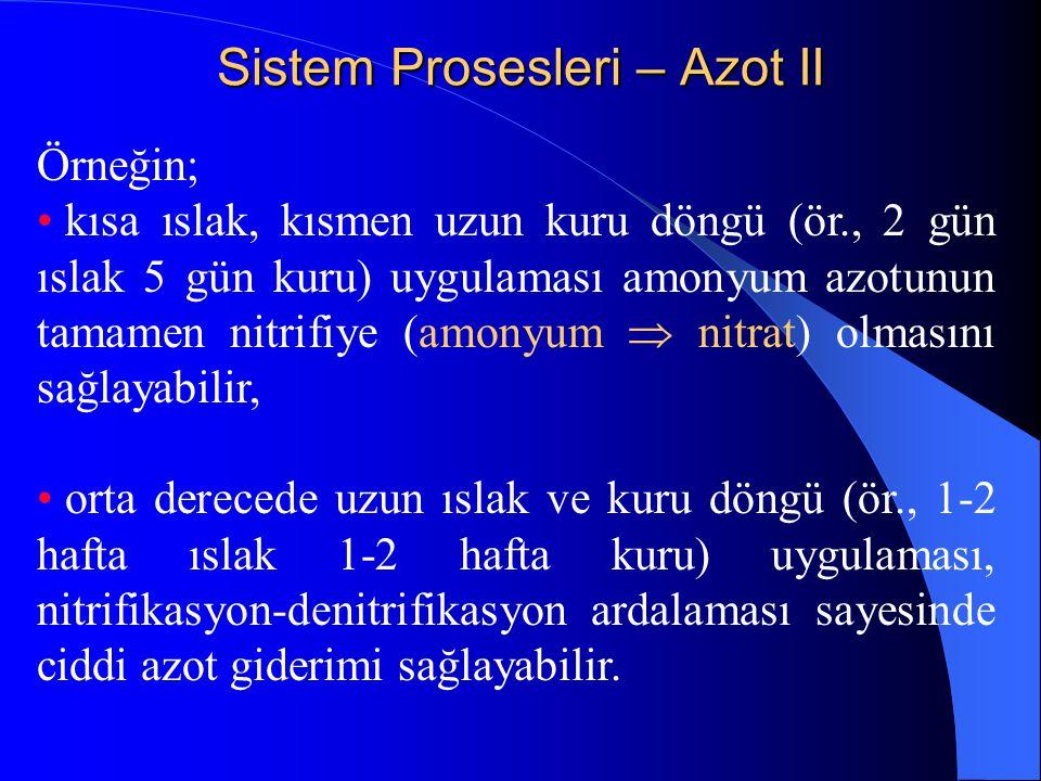 Sistem Prosesleri – Azot II Örneğin; • kısa ıslak, kısmen uzun kuru döngü (ör., 2 gün ıslak 5 gün kuru) uygulaması amonyum azotunun tamamen nitrifiye