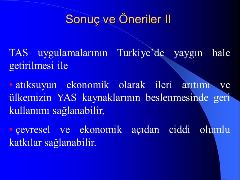 Sonuç ve Öneriler II TAS uygulamalarının Turkiye'de yaygın hale getirilmesi ile • atıksuyun ekonomik olarak ileri arıtımı ve ülkemizin YAS kaynakların