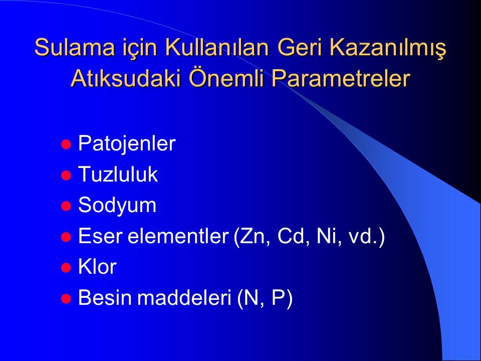 Sulama için Kullanılan Geri Kazanılmış Atıksudaki Önemli Parametreler  Patojenler  Tuzluluk  Sodyum  Eser elementler (Zn, Cd, Ni, vd.)  Klor  Be