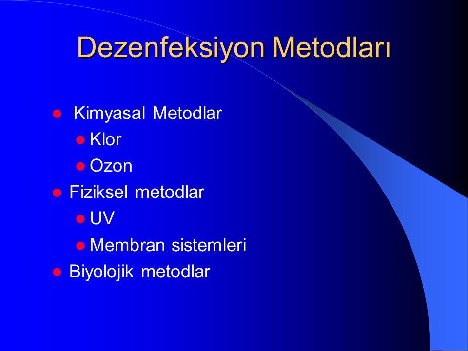 Dezenfeksiyon Metodları  Kimyasal Metodlar  Klor  Ozon  Fiziksel metodlar  UV  Membran sistemleri  Biyolojik metodlar