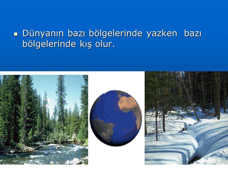 Denizli 2005 19  Dünya'mızın Güneş'ten aldığı ısı ve ışık enerjisi değişir.  Bunun sonucu mevsimler oluşur.