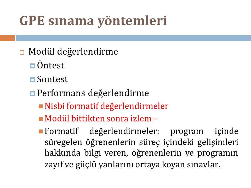 GPE sınama yöntemleri  Modül değerlendirme  Öntest  Sontest  Performans değerlendirme  Nisbi formatif değerlendirmeler  Modül bittikten sonra iz