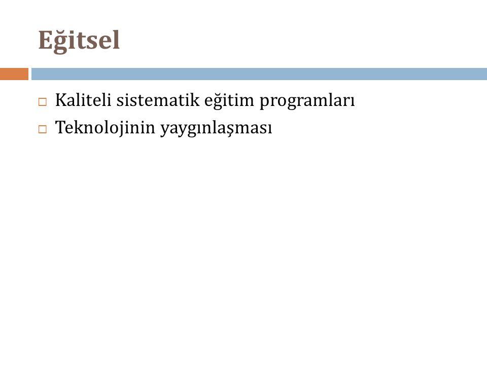 Eğitsel  Kaliteli sistematik eğitim programları  Teknolojinin yaygınlaşması