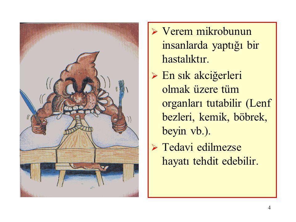 4  Verem mikrobunun insanlarda yaptığı bir hastalıktır.  En sık akciğerleri olmak üzere tüm organları tutabilir (Lenf bezleri, kemik, böbrek, beyin