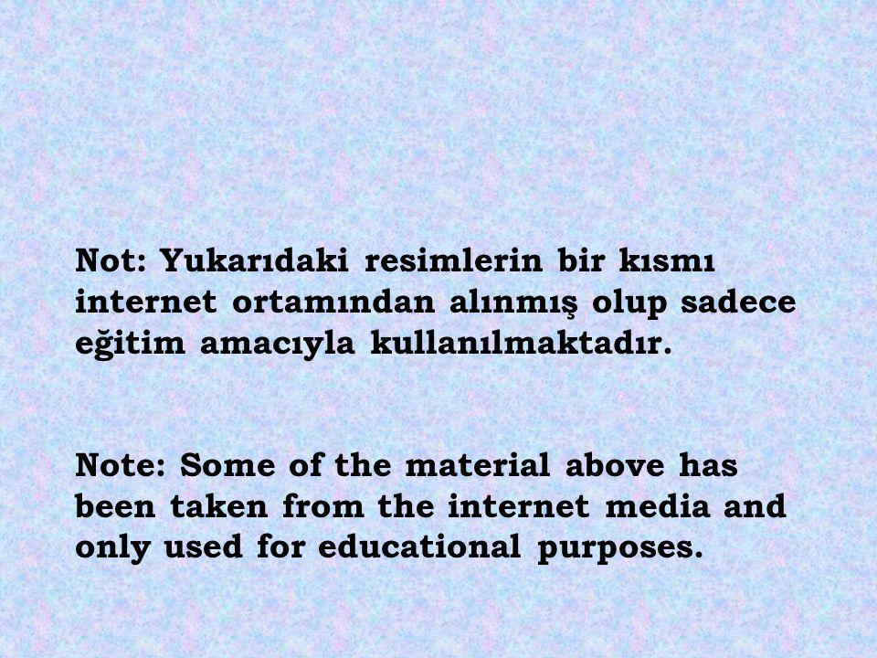 Not: Yukarıdaki resimlerin bir kısmı internet ortamından alınmış olup sadece eğitim amacıyla kullanılmaktadır. Note: Some of the material above has be