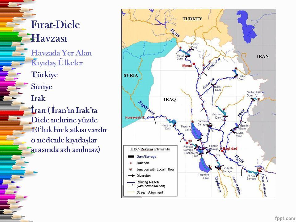 Fırat-Dicle Havzası Havzada Yer Alan Kıyıda ş Ülkeler Türkiye Suriye Irak İ ran ( İ ran'ın Irak'ta Dicle nehrine yüzde 10'luk bir katkısı vardır o ned
