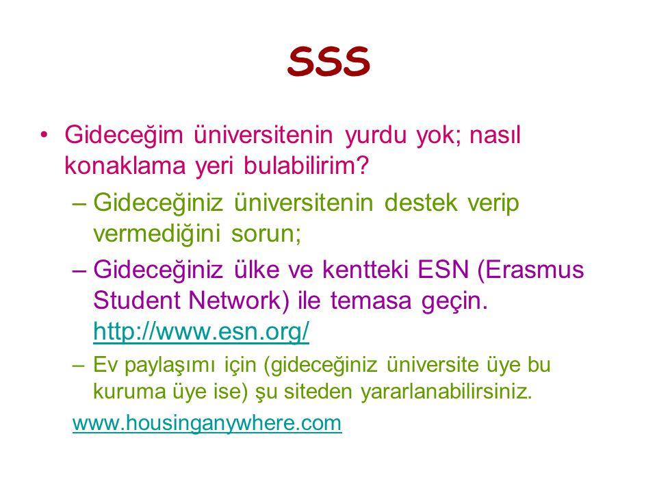SSS •Gideceğim üniversitenin yurdu yok; nasıl konaklama yeri bulabilirim.