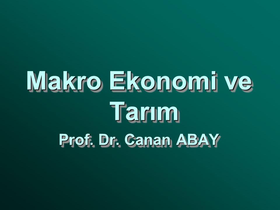 Makro Ekonomi ve Tarım Prof. Dr. Canan ABAY Makro Ekonomi ve Tarım Prof. Dr. Canan ABAY