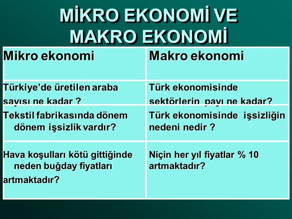 MİKRO EKONOMİ VE MAKRO EKONOMİ Mikro ekonomiMakro ekonomi Türkiye'de üretilen araba Türk ekonomisinde sayısı ne kadar ? sektörlerin payı ne kadar? Tek
