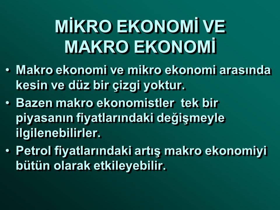 MİKRO EKONOMİ VE MAKRO EKONOMİ •Makro ekonomi ve mikro ekonomi arasında kesin ve düz bir çizgi yoktur. •Bazen makro ekonomistler tek bir piyasanın fiy